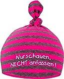 Baby Mütze bedruckt mit NUR SCHAUEN - NICHT ANFASSEN (Farbe neonpink/grau) (Gr. 0-18 Monate)