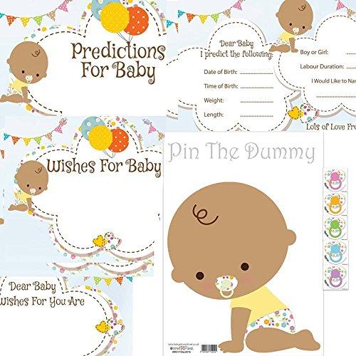 Baby Dusche Spiele Pack Pin der Schnuller auf das Baby, Vorhersage Karten, Baby Wishes Karten Kit Ethnic asiatischen 8, 16Gäste