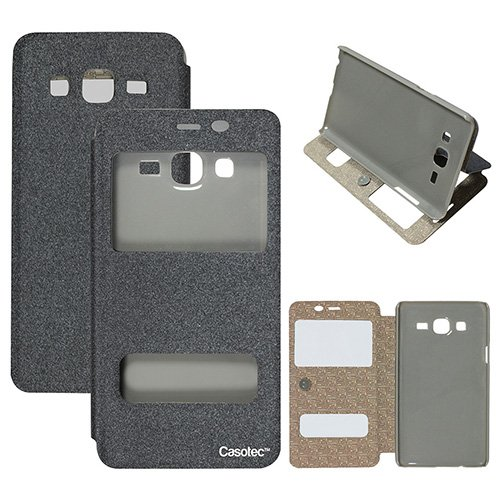 Casotec Premium Caller-id flip Case Cover With kickstand for Samsung Galaxy On5 - Grey