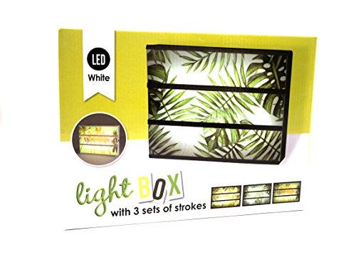 Lightbox mit 3Tischset gemustert Tropischer-Sets Lichterkette A4-LED White Noir. Feuilles Tropicales