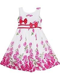 Mädchen Kleid Rose Blume Doppelklicken Bogen Binden Sommer Lager