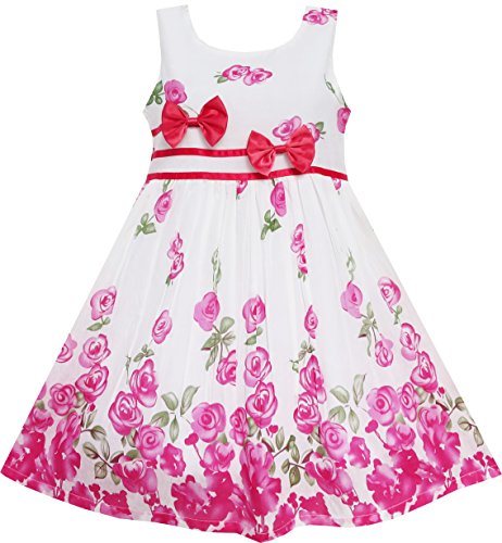 Sunboree Mädchen Kleid Rose Blume Doppelklicken Bogen Binden Sommer Lager Gr.128-134 Rosen-sommer-kleid