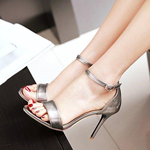 Aiyoumei Damen Offen Knochelriemchen High Heel Sandalen Mit 10cm