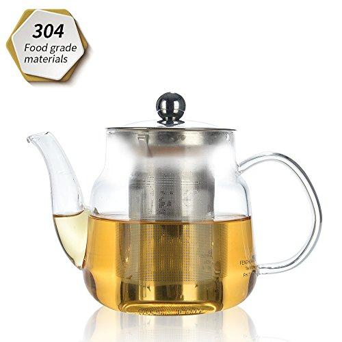 Théière, 600ml, Théière en verre avec infuseur amovible cuisinière, micro-ondes et lave-vaisselle, passoire à thé pour thé en vrac et Blooming Thé