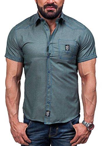 BOLF – Chemise casual – avec manches courtes – BOLF 6518 – Homme Vert