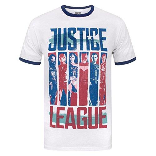 Maschine Ringer (Justice League Herren Charakter Strips Ringer T-Shirt (XL) (Weiß))