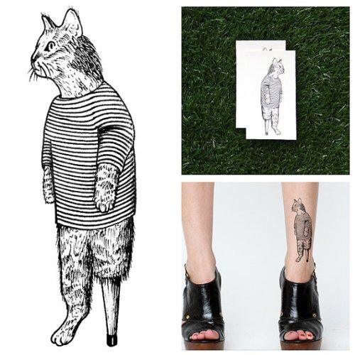 Taffity Kätzchen Temporäre Tattoos- Der Katzen-Pyjama (Set mit 2) (Temporäre Kätzchen Tattoo)