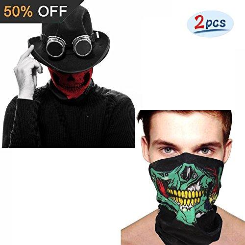 Imixcity 2Stück Multifunktions Skull Half Face Maske Classic Tribal Soft winddicht Motorrad Fahrrad mit Kopfbedeckungen, 2PC #B