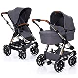 ABC Design Kombi Kinderwagen Condor 4 Air | 2in1 Set mit Babywanne und Sportwagen Buggy Aufsatz - Diamond Special Edition 2019 - Asphalt