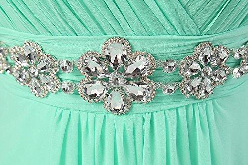 Kmformals Damen V-Ausschnitt Spalte lange Chiffon Prom Kleid Brautjungfer Kleider Minze Grün