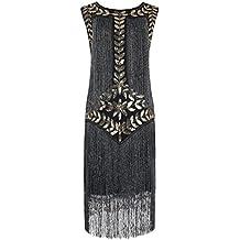 PrettyGuide Mujeres Anos 1920s Lentejuela Con Flecos Inspirado Vestido de Flapper