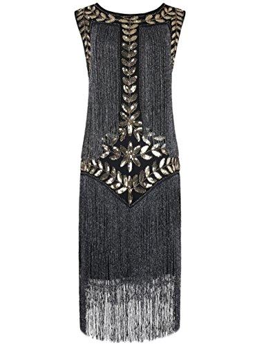PrettyGuide Damen 1920er Vintage Paillette Alle Fransen Inspired Flapper Kleider M Gold