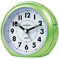 ATRIUM sveglia analogica verde senza ticchettio, con luce e funzione snooze A240-3