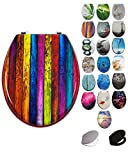 Grafner® MDF WC Sitz mit Absenkautomatik viele schöne Motive zur Auswahl - stabile Qualität - einfache Monatge WC Deckel Klobrille Softcolse (Colored Planks)