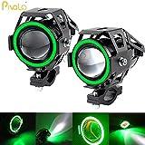 #10: Pivalo U7 LED Fog Light Bike Driving DRL Spotlight, High/Low Beam, Flashing With Green Angel Eyes Light Ring -Pack of 2