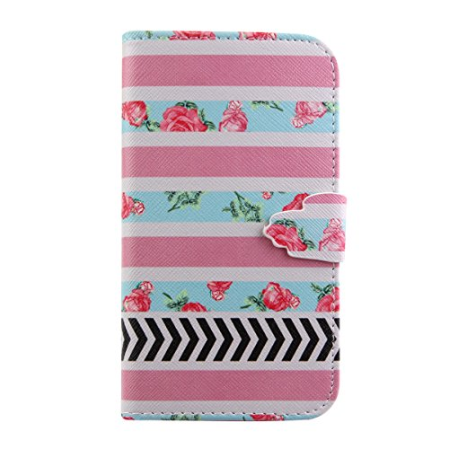 Apple iphone 6 Plus Case Cover, iphone 6S Plus custodia portafoglio, Pelle Custodia per iphone 6 Plus/6S Plus, Ukayfe Anti Scratch morbida copertura posteriore del silicone colorato Carino elefante Pa Rosa Fiori con Pink Striped