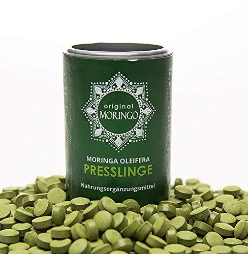 Feinste Natürliche Calcium (ORIGINAL MORINGO Premium Moringa Oleifera Presslinge   96g  240 Stück für 30 Tage   100% handverlesenes Blattpulver)