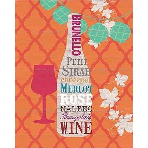 Summer Wine Celebration I Studio Bella-Stampa su tela in carta e decorazioni disponibili, Tela, SMALL (18.5 x 23.5 Inches ) - Beaujolais Rose
