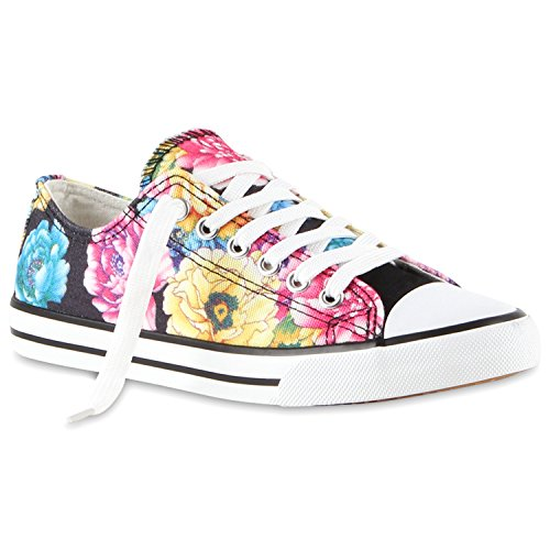 Damen Sneakers Blumen | Freizeitschuhe Denim | Sneaker Low Schuhe | Stoffschuhe Turnschuhe | Flandell®