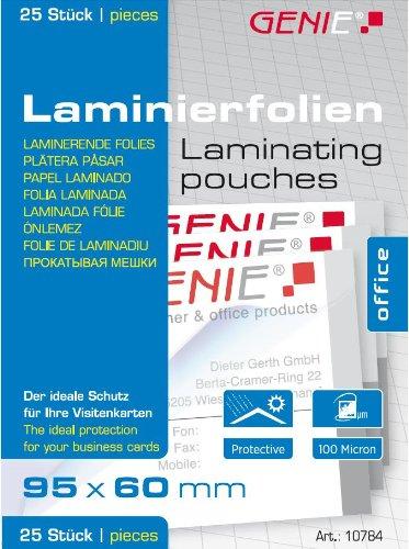 Genie 10784 Laminierfolien (Glasklar, 100 Mikron für bis zu Visitenkarten-Formate, geeignet für alle Heißlaminiergeräte, 95 x 60 mm) 25er Pack