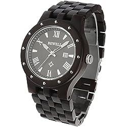 FunkyTop Herren Holz Uhren Runde Quarz Datum Uhrzeit Woche 24 Stunden Wood Armbanduhren