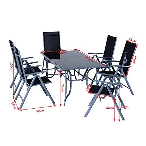 Outsunny Set Mobili da Giardino Tavolo con 6 Sedie Pieghevoli in Alluminio e Tessuto di Textilene - 3