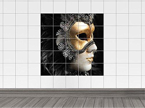naufkleber Fliesenbild Maske Kostüm Venedig Badezimmer Küche (Fliesenmaß: 15x15cm // Bild: 90x90cm (BxH)) (Küche-kostüme)