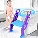 Leting Töpfchen Trainer/Toilettentrainer, Kinder Toilettensitz Trainer/Baby WC Sitz mit Leiter/Toilettenleiter, Töpfchen-Sitz mit Schritt, für Kinder von 1-7 Jahren (Blau)