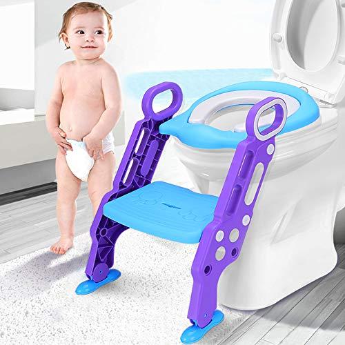 Leting Töpfchen Trainer/Toilettentrainer, Kinder Toilettensitz Trainer/Baby WC Sitz mit Leiter/Toilettenleiter, Töpfchen-Sitz mit Schritt, für Kinder von 1-7 Jahren (Blau)