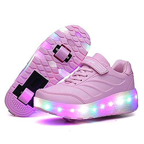Tbbuy Unisex Kinder LED Licht Räder Blinkende Rollschuh Schuhe Skate Trainer Gym Sport Schuhe für Kinder Weihnachten Halloween Geschenk (36 EU, Rosa mit Doppelten - Arten Zwei Halloween