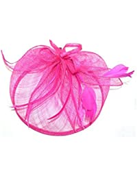 4603 Large looped hessian hatinator Fascinator Pink Navy Teal Wedding Ladies Day Races (Pink)