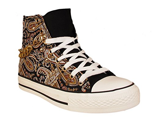 Womens Hi Top Canvas Paisley Print Girls Flat Lace UP Gold Stud Chain Pumps plimsolls Trainers Ladies Shoes (UK 3/EU 36, Black)