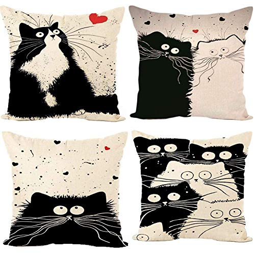 Freeas Kissenbezug 45 x 45 cm, Baumwolle Leinen Schwarz und weiß Katze Kissenhülle Taille Wurf Kopfkissenbezug für Zuhause und Sofa, Schlafzimmer Dekoration, 4 Stück