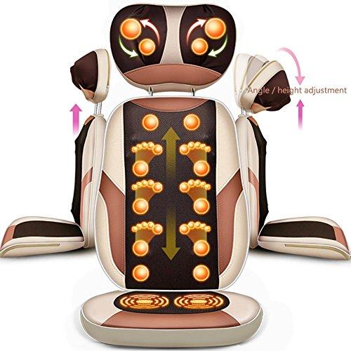 MBDKZC Vibrationsmassagegerät Home-Massage-Pad Multifunktion Kissen Stuhlmatte Halslift Regulierung Knetmassage Heizfunktion Abnehmbares Kissen PU-Gewebe Gold