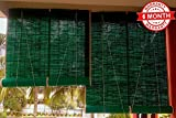 sai praseeda Bamboo Curtain for Balcony/Window Net with Roll up Blind (3x7ft, Green)