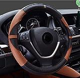 Semoss Universal UK England Stil Lenkradbezug Echt Leder Lenkradhülle Lenkradabdeckung Lenkradschoner Auto,Farbe:Schwarz/Braun,Dimension:37-38cm