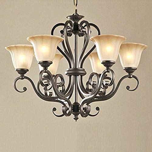 Gesamt-minuten Iron (LOODBP Crystal Chandelier Hotel Lobby Lichter 6Light Lighting Traditional s Antique Black Iron Pendelleuchte)