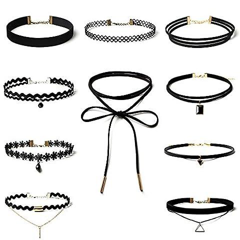 iShine 10 Stück Halsketten durch Schwarz Samt Halskette für Damen Mädchen Schmuck Halskette Packung mit verschiedenen Stil Mode Halsketten verpacken mit einem Aufbewahrungsbeutel