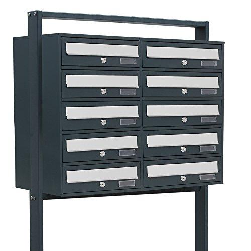 BITUXX® Design Doppel Stand-Briefkastenanlage Postkasten Letterbox Mailbox Edelstahl Briefklappe mit 10 Fächer Dunkelgrau