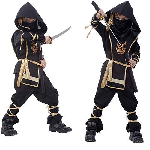 EiiChuang Kalifornien Kostüme Spielzeug Stealth Ninja - Junge, Mädchen Halloween Kostüm Outfit Motto Geburtstagsfeier (4-12 Jahre - Ninja Herr Kinder Kostüm