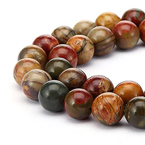 BRCbeads Gorgeous Natural Picasso Jasper Gemstone Round Loose Beads 10mm Approxi 15.5 inch 35pcs 1 Strand per Bag for Jewelry Making