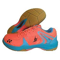 Yonex Badminton Non Marking Shoes - 9 UK, Orange/Blue
