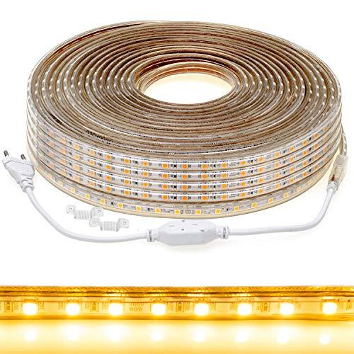 50m LED Streifen 5050 230V warmweiß 3000K IP44 dimmbar, Netzstecker, je Meter kürzbar