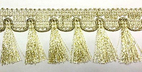 16,40m Fransen-Borte 4,5cm breit Farbe: helles Lurex-Gold TSL-782-lt.go