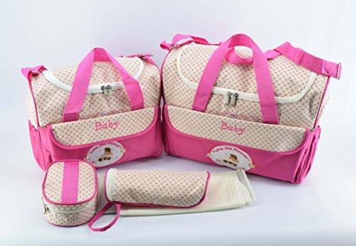 Satz von 2 Baby Wickeltaschen + Baby Bottle Bag + Lunch Kit + Wasserdichte Matte zum Austausch der kompakten Schichten ideal für Reisen (pink)
