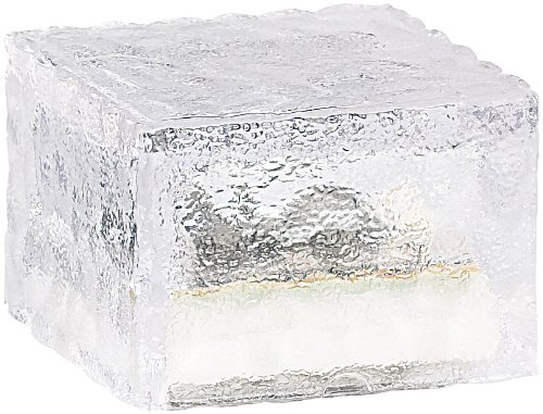 Lunartec Solarsteine: Solar-LED-Glasbaustein mit Lichtsensor 4er-Set klein (7x7 cm) (Solar Glasstein)
