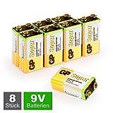 GP Batteries - Confezione risparmio da 8 batterie, 9V, MN1604, Multicolore