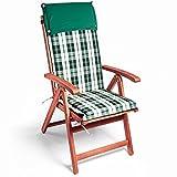 Detex® 6X Stuhlauflage | 6er Set | Rückhaltebänder | Wasserabweisend | Hochlehner Auflage Sitzauflage Stuhlkissen Polsterauflage Vanamo Boston | Farbauswahl | Grün-Weiß |