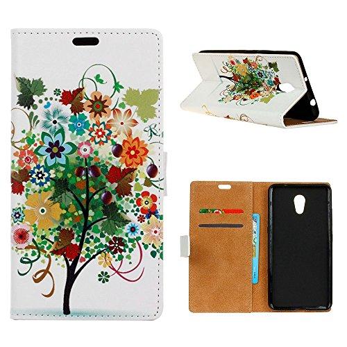 "MOONCASE Meizu M5s/Meizu Meilan 5s Custodia, [Colorful Pattern] Flip Pelle Cover Durevole TPU Antiurto Supporto Protezione Case per Meizu M5s 5.2"" Flowers"