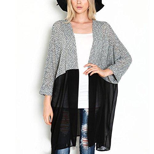 EFINNY Damen Open Front Shawl Cardigan Casual Lightweight Kimono Coat (Cardigan Open-front Lightweight)